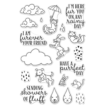 Hero Arts Clear Stamps RAINING CATS AND DOGS Set CM151