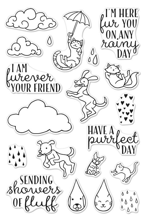 Hero Arts Clear Stamps RAINING CATS AND DOGS Set CM151 zoom image
