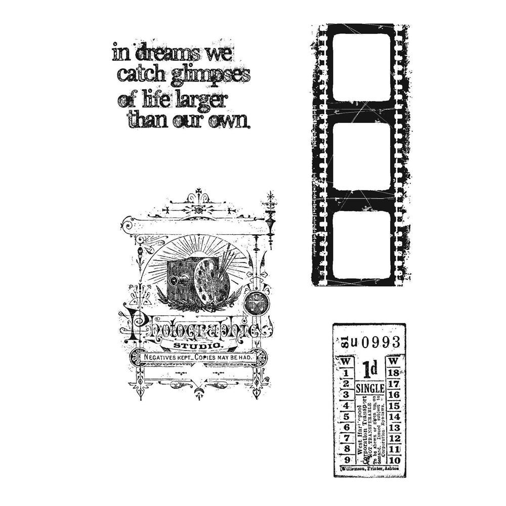 Tim Holtz Cling Rubber Stamps CAPTURED MOMENTS Stampers Anonymous CMS037  zoom image