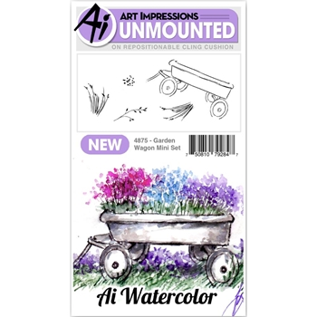 Art Impressions Watercolor GARDEN WAGON Mini Set Cling Rubber Stamps 4875