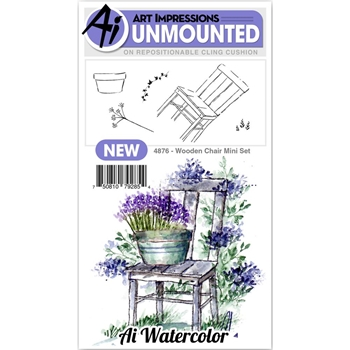 Art Impressions Watercolor WOODEN CHAIR MINI SET Cling Rubber Stamps 4876