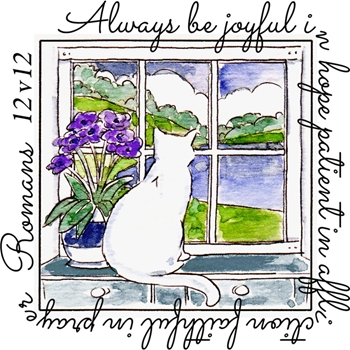 Art Impressions BE JOYFUL WINDOW To The World Cling Rubber Stamp M4877