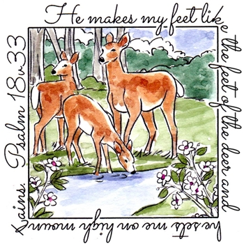 Art Impressions DEER WINDOW To The World Cling Rubber Stamp M4879