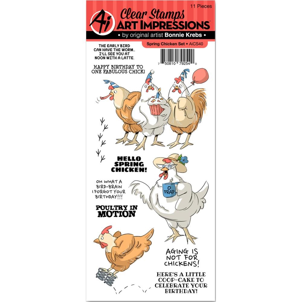 Art Impressions SPRING CHICKEN Clear Stamp Set AICS40 zoom image