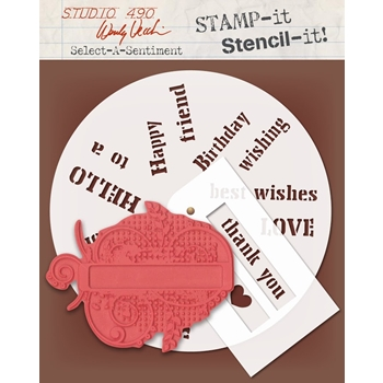 Wendy Vecchi Stencils For Art SELECT A SENTIMENT Studio 490 WVSFA037