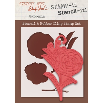 Wendy Vecchi Stamp It Stencil It! Stencil & Rubber Cling Stamp GARDENIA Studio 490 WVSTST032