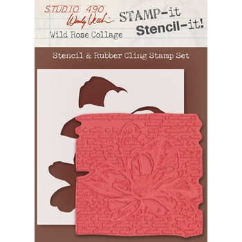 Wendy Vecchi Stamp It Stencil It! Stencil & Rubber Cling Stamp WILD ROSE COLLAGE Studio 490 WVSTST036