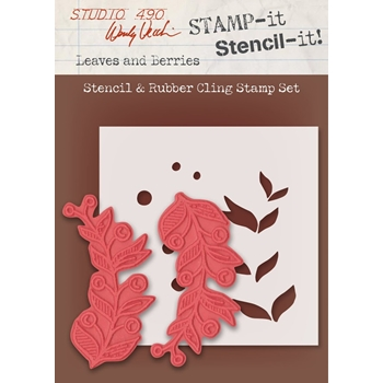 Wendy Vecchi Stamp It Stencil It! Stencil & Rubber Cling Stamp LEAVES AND BERRIES Studio 490 WVSTST033
