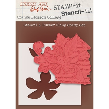 Wendy Vecchi Stamp It Stencil It! Stencil & Rubber Cling Stamp ORANGE BLOSSOM COLLAGE Studio 490 WVSTST034