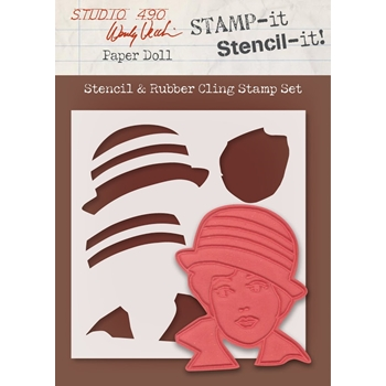 Wendy Vecchi Stamp It Stencil It! Stencil & Rubber Cling Stamp PAPER DOLL Studio 490 WVSTST035