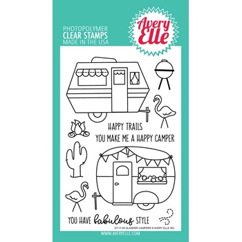 Avery Elle Clear Stamps GLAMPER CAMPERS Set 025004