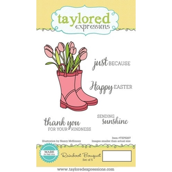 Taylored Expressions RAINBOOT BOUQUET Cling Stamp Set TEPS207