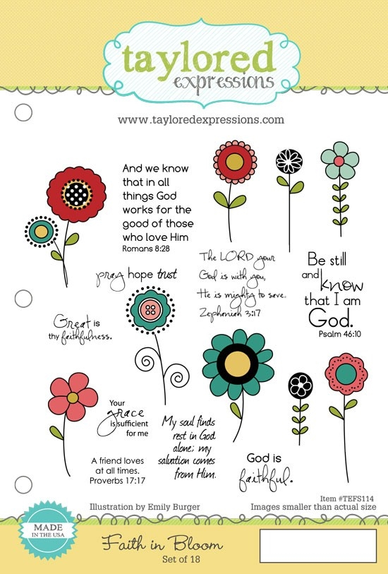 Taylored Expressions FAITH IN BLOOM Cling Stamp Set TEFS114 zoom image