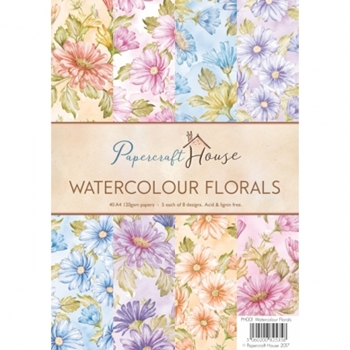 Papercraft House WATERCOLOUR FLORALS A4 Paper Pack PH001