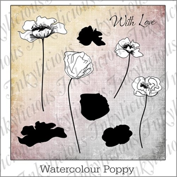 Inkylicious WATERCOLOR POPPIES Clear Stamps And Stencil Set 830013