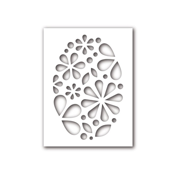 Simon Says Stencils OVAL OF FLOWERS SSST121391