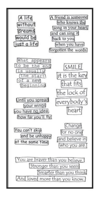 Dyan Reaveley CLEARLY THE RIGHT WORDS Stamp Set Dylusions Clear Stamps DYB39587 zoom image
