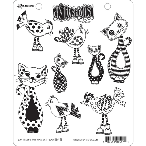 Dyan Reaveley CAT AMONG THE PIGEONS Cling Stamp Set Dylusions DYR55471* Preview Image