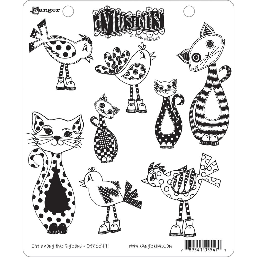 Dyan Reaveley CAT AMONG THE PIGEONS Cling Stamp Set Dylusions DYR55471* zoom image