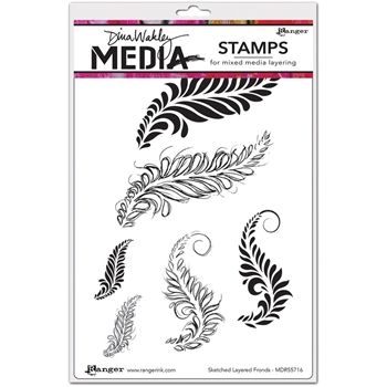 Dina Wakley SKETCHED LAYERED FRONDS Media Cling Rubber Stamp MDR55716
