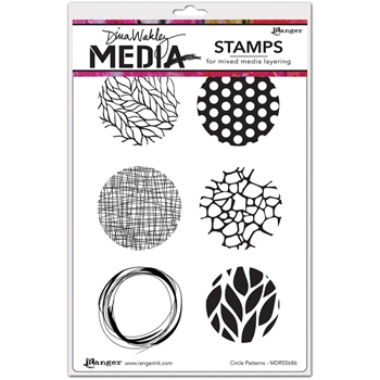 Dina Wakley CIRCLE PATTERNS Media Cling Rubber Stamp MDR55686