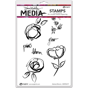 Dina Wakley ABSTRACT BLOOMS Media Cling Rubber Stamp MDR55679