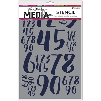 Dina Wakley JUMBLED NUMBERS Media Stencil MDS54443
