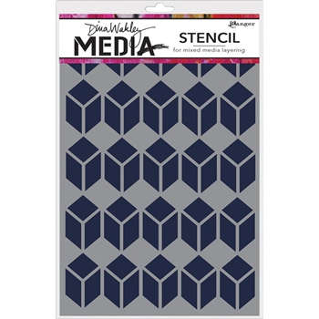 Dina Wakley STACKED SQUARES Media Stencil MDS52449