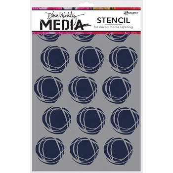 Dina Wakley FRACTURED CIRCLES Media Stencil MDS52425