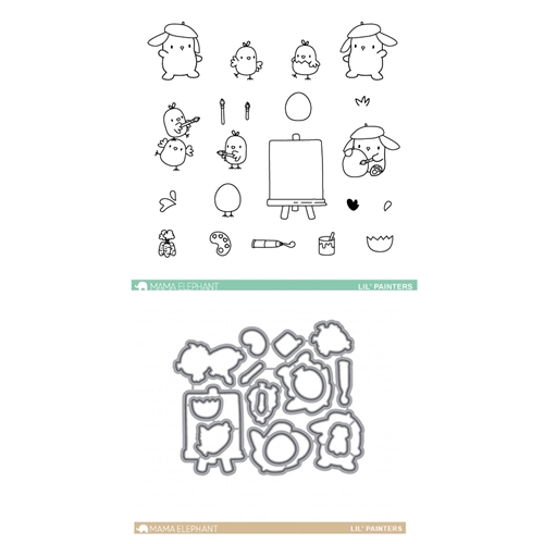 Mama Elephant Clear Stamp and Die MEPT330 Lil Painters  Preview Image