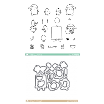 Mama Elephant Clear Stamp and Die MEPT330 Lil Painters