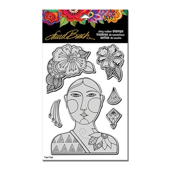 Stampendous Cling Stamp BLOSSOMING WOMAN with Stencil Rubber UM Laurel Burch LBCRS01