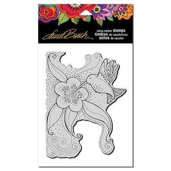 Stampendous Cling Stamp HUMMINGBIRD GARDEN Rubber UM Laurel Burch LBCR003