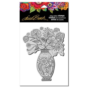 Stampendous Cling Stamp FLORAL VASE Rubber UM Laurel Burch LBCR004