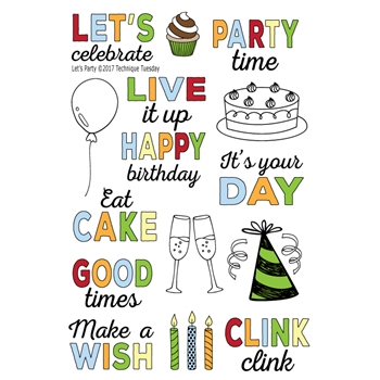 Technique Tuesday LETS PARTY Clear Stamps 02463