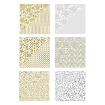 Richard Garay SILVER AND GOLD PRINTED 12x12 PAPER Silver And Gold Collection SGPP001