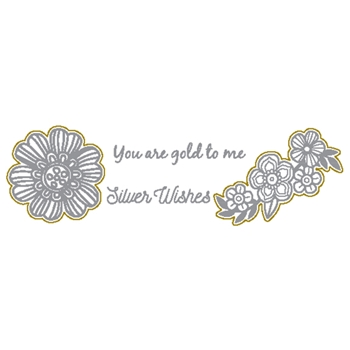 Richard Garay SILVER WISHES Silver And Gold Collection Stamp and Die Set sgsd004