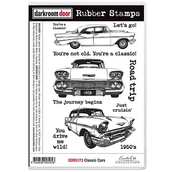 Darkroom Door Cling Stamp CLASSIC CARS Rubber UM DDRS173