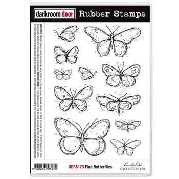 Darkroom Door Cling Stamp FINE BUTTERFLIES Rubber UM DDRS175