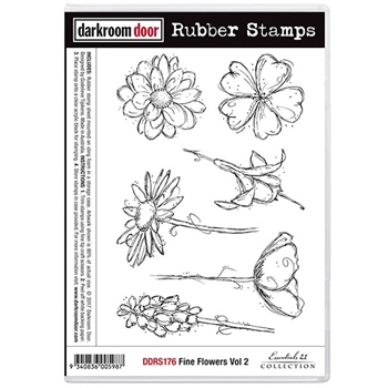 Darkroom Door Cling Stamp FINE FLOWERS VOLUME 2 Rubber UM DDRS176