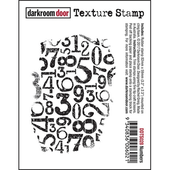 Darkroom Door Cling Stamp NUMBERS Texture Rubber UM DDTS028