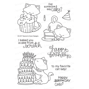 Newton's Nook Designs NEWTON LOVES CAKE Clear Stamp Set 20170201