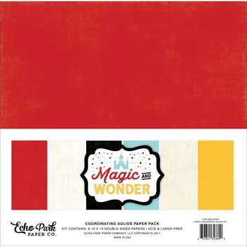 Echo Park MAGIC AND WONDER 12 x 12 Double Sided Solids Paper Pack MW124060