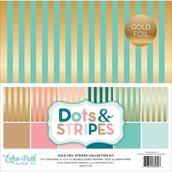 Echo Park GOLD FOIL STRIPES 12 x 12 Collection Kit DSF17016