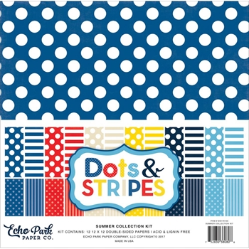 Echo Park SUMMER DOTS AND STRIPES 12 x 12 Collection Kit DS170103