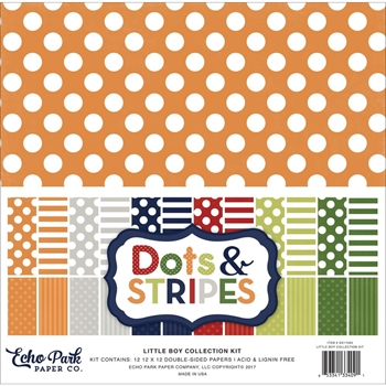 Echo Park LITTLE BOY DOTS AND STRIPES 12 x 12 Collection Kit DS17063