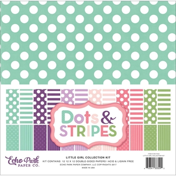 Echo Park LITTLE GIRL DOTS AND STRIPES 12 x 12 Collection Kit DS17043