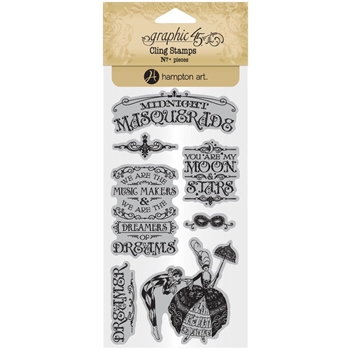 Graphic 45 MIDNIGHT MASQUERADE 1 Cling Stamps ICO383