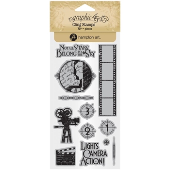 Graphic 45 VINTAGE HOLLYWOOD 1 Cling Stamps ICO377