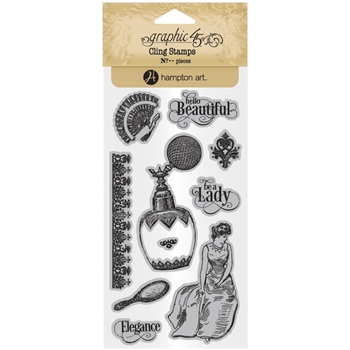 Graphic 45 PORTRAIT OF A LADY 2 Cling Stamps ICO381